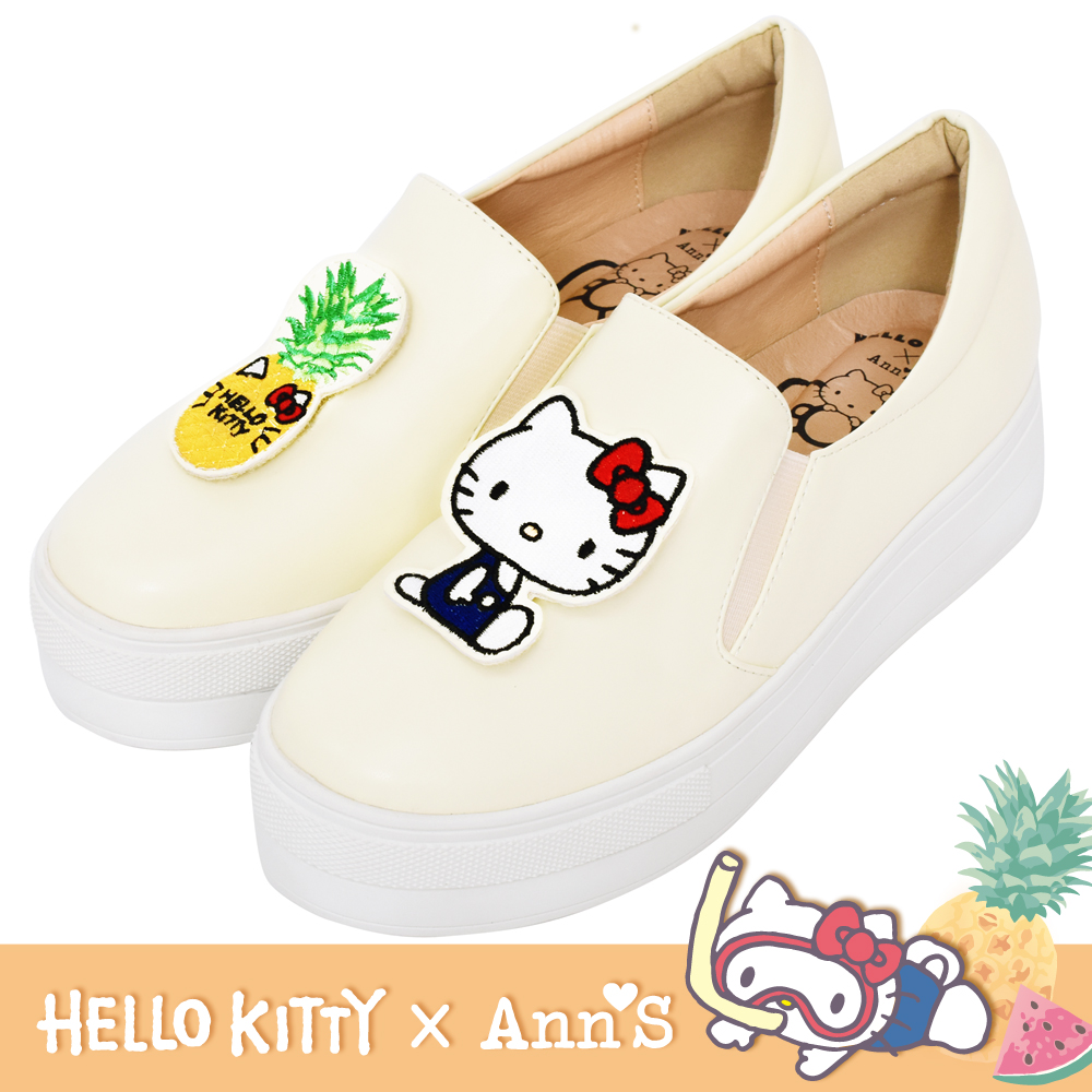 HELLO KITTY X Ann'S鳳梨可隨意交換貼布刺繡厚底懶人鞋-黃