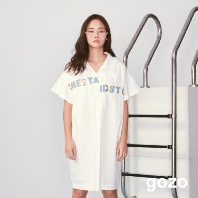gozo 趣味主題標語襯衫式挖空洋裝(二色)