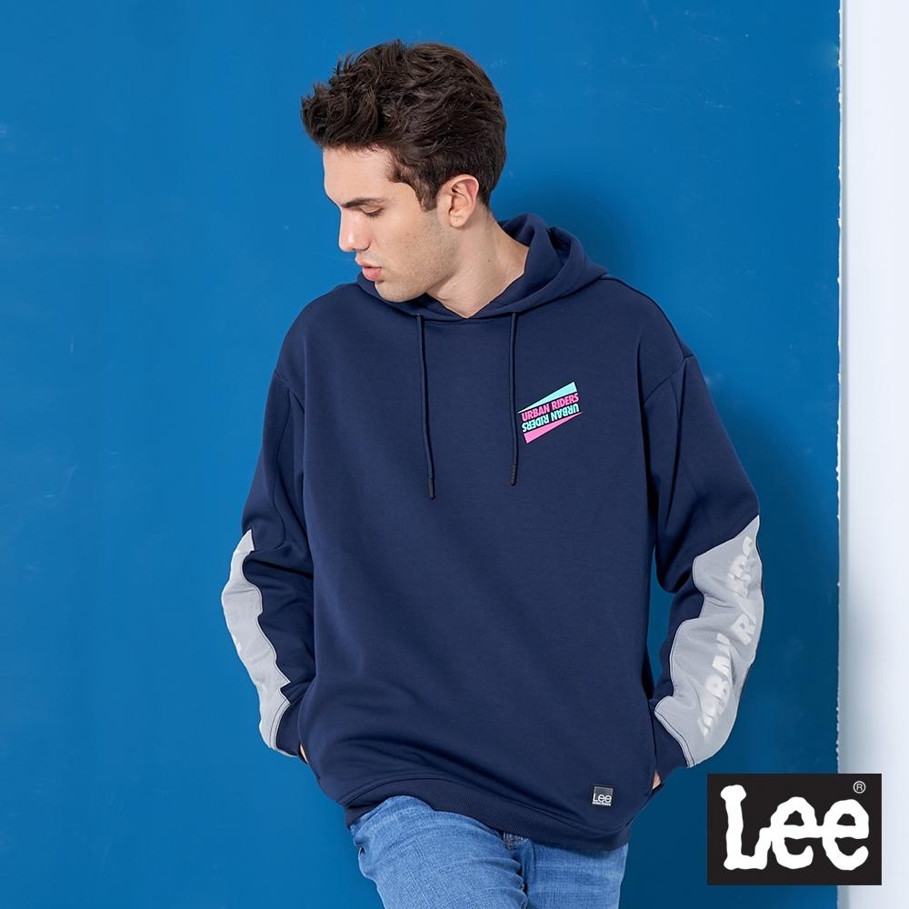 Lee 帽T 撞色寬版長袖連帽厚T 男款 藏藍色