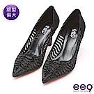 ee9 名媛氣息奢華透膚鑲嵌亮鑽Royal Style跟鞋 黑色