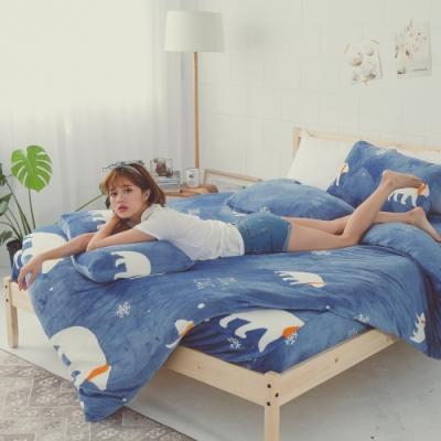 BUHO 極柔暖法蘭絨兩用毯被床包雙人加大四件組(漂浮星球)