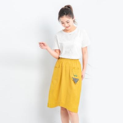 【白鵝buyer】 童趣口袋韓國製休閒裙_黃色