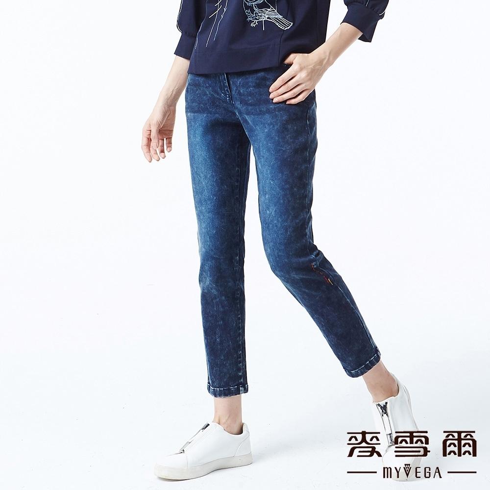 麥雪爾 純棉水洗刷色修身九分牛仔褲-藍