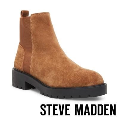 STEVE MADDEN-GLIDING 時尚側鬆緊帶切爾西短筒靴-絨咖啡