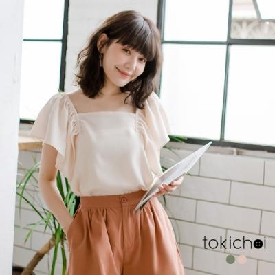 東京著衣 日系可愛荷葉袖方領棉麻上衣-S.M.L(共兩色)
