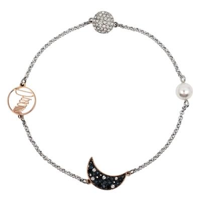 SWAROVSKI 施華洛世奇 REMIX璀璨水晶神秘夜月銀色手環手鍊