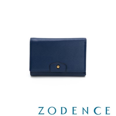 ZODENCE CUFF進口牛皮袖釦設計中夾 藍色