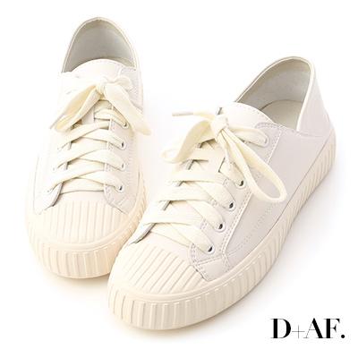 D+AF 舒服漫步.可後踩2way皮質餅乾鞋*白