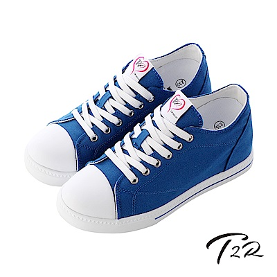 【T2R】增高7cm經典款休閒氣墊帆布鞋-藍