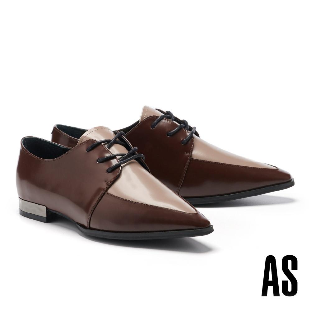 低跟鞋 AS 率性時髦牛皮尖頭低跟鞋-咖