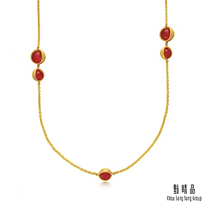 點睛品g collection 圓形紅瑪瑙 黃金項鍊