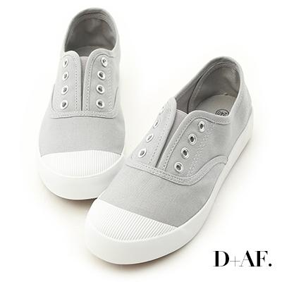 D+AF 活力自在.奶油頭無綁帶休閒帆布鞋*灰