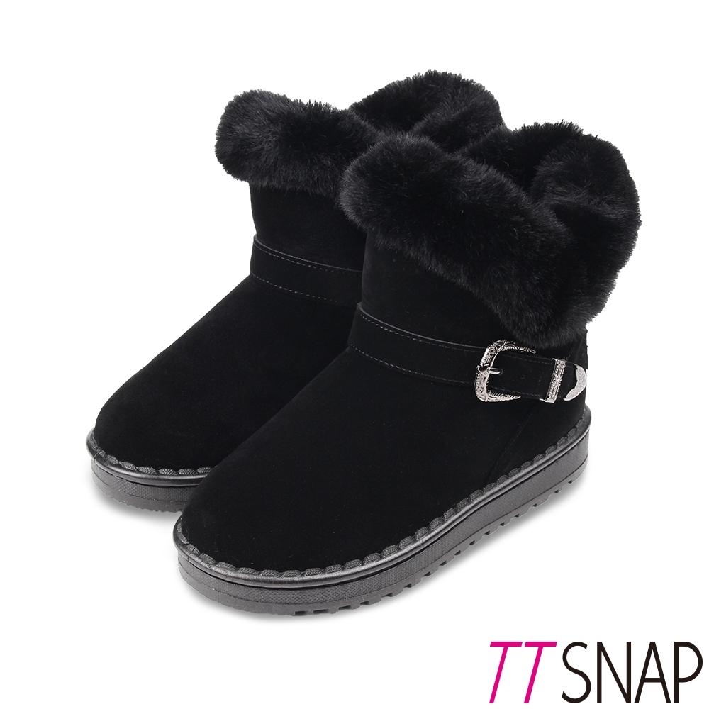 TTSNAP雪靴-帥氣飾扣仿牛麂皮保暖中筒靴 黑