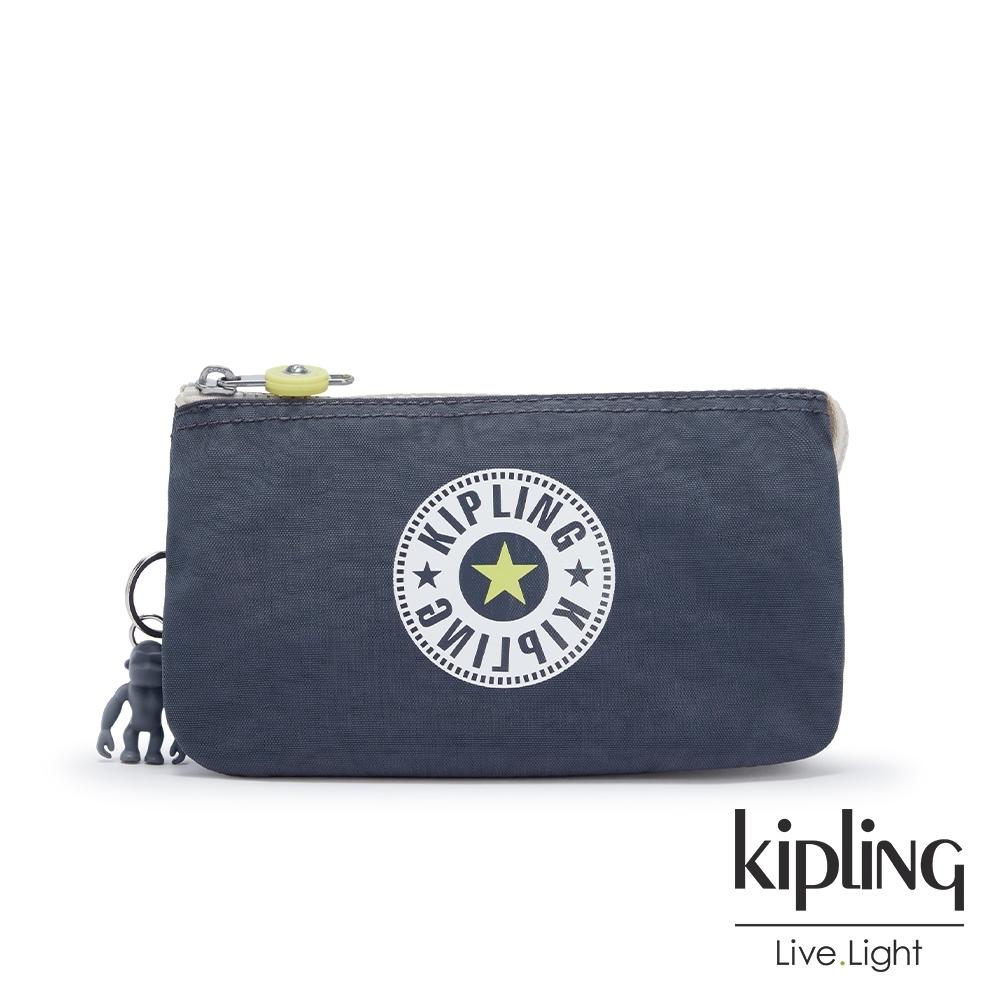 Kipling 夏日螢光撞色三夾層配件包-CREATIVITY L