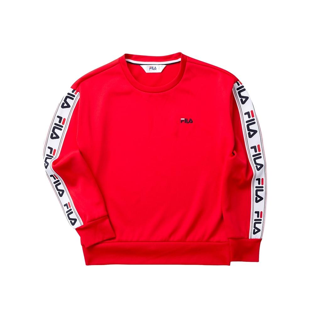 FILA KIDS 女童長袖針織圓領T恤-紅色 5TET-8443-RD