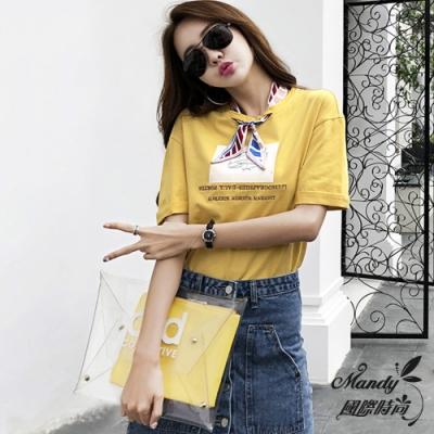 Mandy國際時尚 短袖上衣 圓領寬鬆絲巾裝飾刺繡T恤上衣(4色)【韓國服飾】