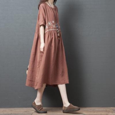 自然系女孩純色柔和洋裝M-2XL(共三色)Keer