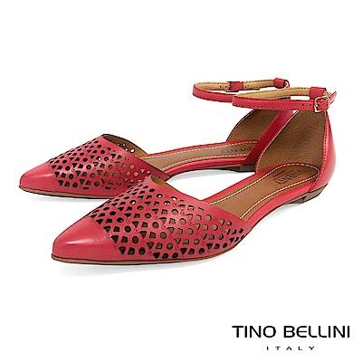 Tino Bellini 巴西進口雷射幾何藝術繫踝平底鞋 _紅