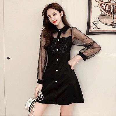 DABI 韓系網紗拼接翻領氣質赫本小黑裙長袖洋裝