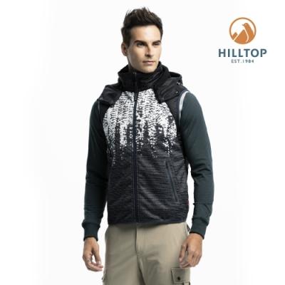 【hilltop山頂鳥】男款防風透氣科技保暖棉印花背心H25M97黑白印花