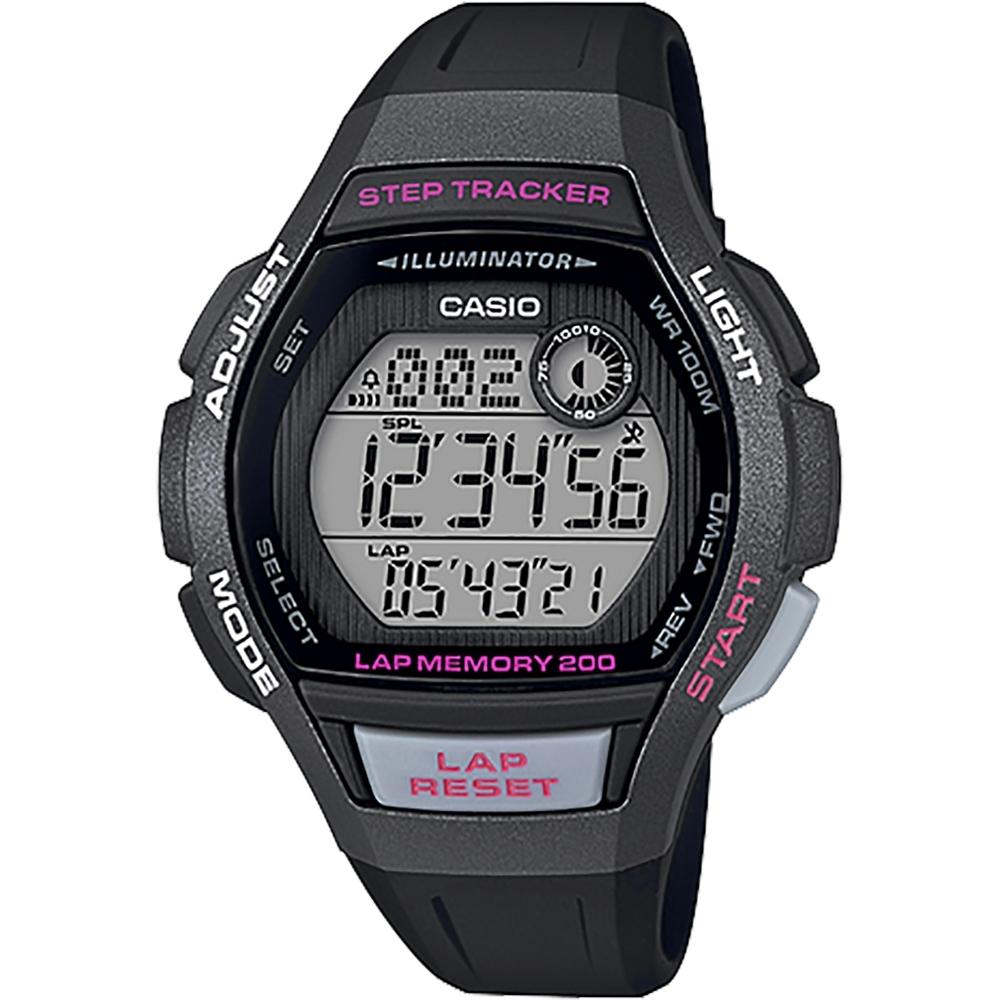 CASIO 卡西歐 計步功能女錶-黑x桃紅(LWS-2000H-1A)