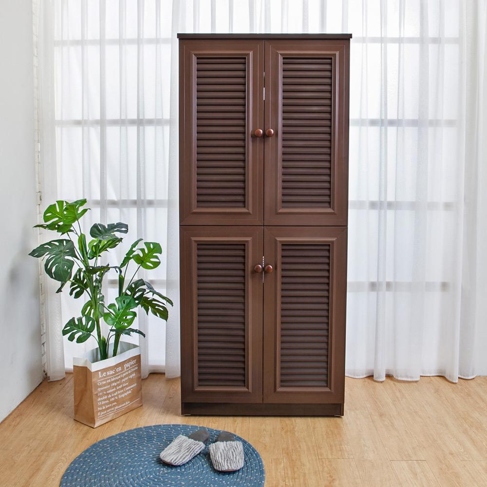 Birdie南亞塑鋼-2.7尺四門塑鋼百葉高鞋櫃(胡桃色)-82x37x189cm