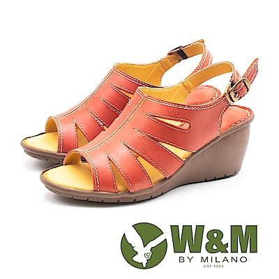 W&M(女)羅馬風情 真皮鏤空楔型涼鞋-紅(另有棕)