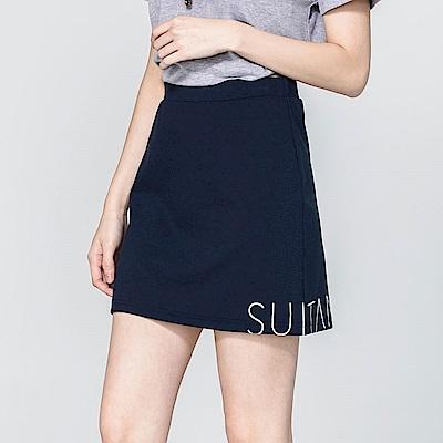 SUITANGTANG 品牌LOGO印花短裙-藏青