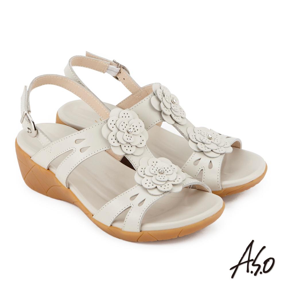 A.S.O 希臘渡假 全真皮簍空雕花休閒涼鞋 米