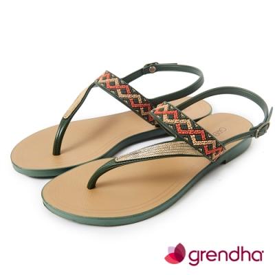 Grendha 民俗風串珠T字帶涼鞋-橄欖綠/金