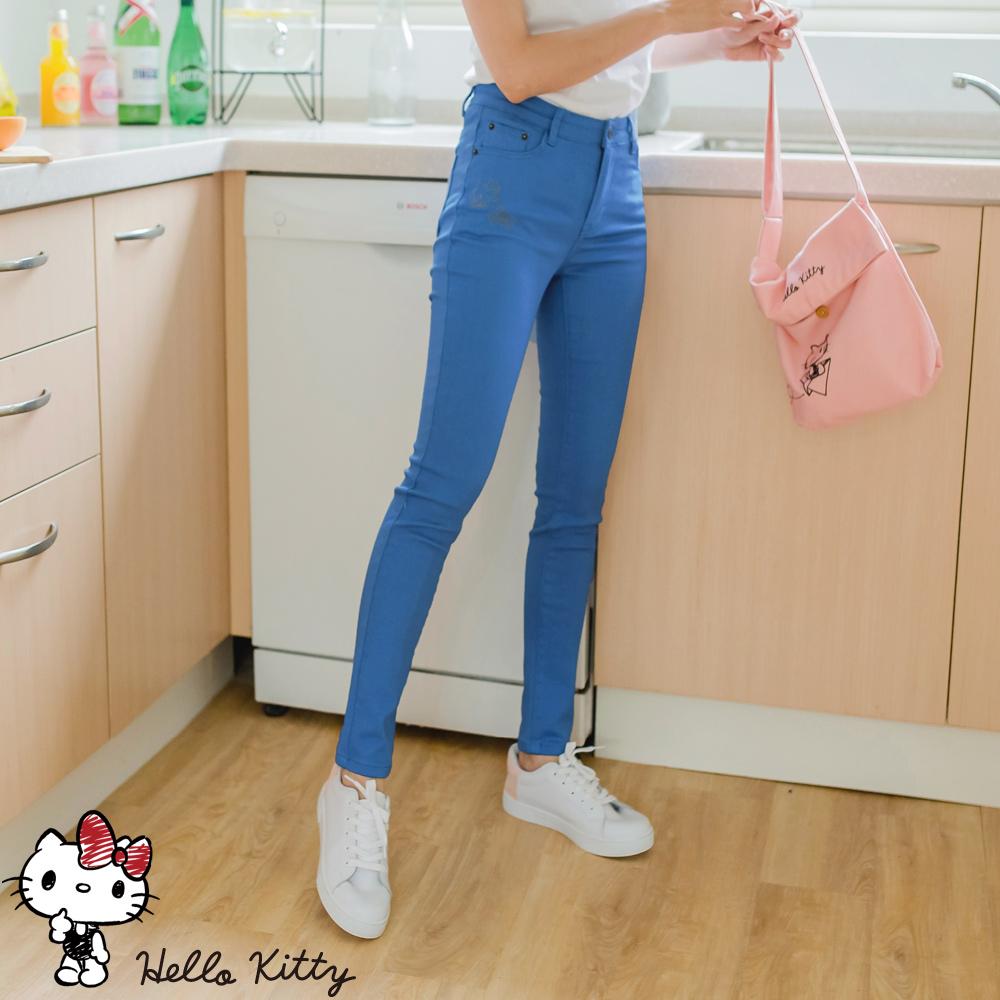 KITTY刺繡純色高含棉窄管褲-OB嚴選