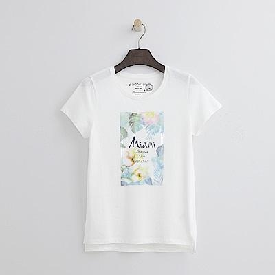 Hang Ten - 女裝 - 有機棉 夏日花漾T恤-白色