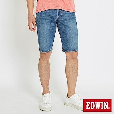 EDWIN 大尺碼503休閒基本五袋短色褲-男-石洗藍