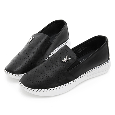 PLAYBOY 浪漫星空美鑽真皮休閒鞋-黑-Y5298CC