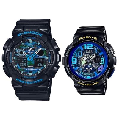 CASIO純粹之心耀眼海洋藍傳說休閒對錶(GA-100CB-1ADR+BGA-190GL-1B)
