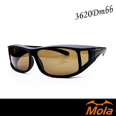 MOLA 摩拉近視可戴包覆式偏光太陽眼鏡 套鏡 墨鏡 UV400 男女-3620Dmbb