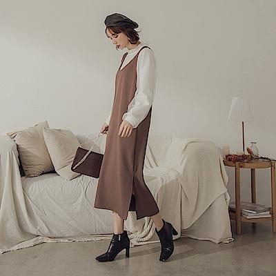 純色不易皺V領寬肩帶洋裝-OB大尺碼