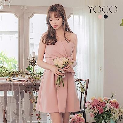 東京著衣-YOCO 心機女神縮腰透膚交錯造型洋裝-S.M.L(共兩色)