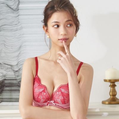 蕾黛絲-千鳥格真水 D罩杯內衣 魔力紅