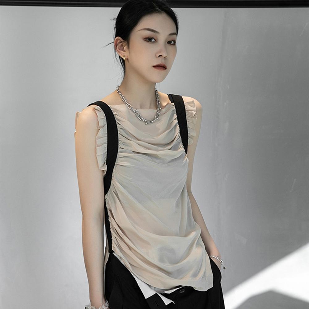 設計所在Style-銅安絲黑色褶皺修身顯瘦氣質無袖背心 (杏色)