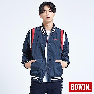 EDWIN 復古運動繡花 風衣外套-男-丈青