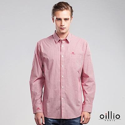 歐洲貴族 oillio 長袖襯衫 素面款式 電腦刺繡 紅色