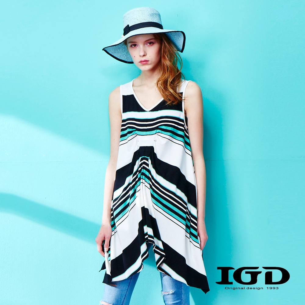 IGD英格麗 寬版褶皺條紋背心上衣
