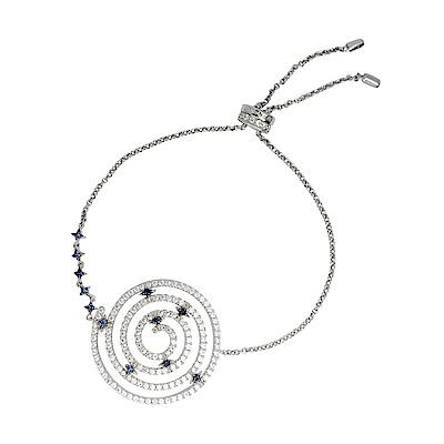 apm MONACO法國精品珠寶 閃耀銀色鑲鋯曼陀羅可調整手鍊手環
