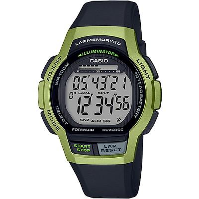CASIO 運動跑步設計都會風尚數位男錶-卡其綠X黑(WS-1000H-3A)/31mm