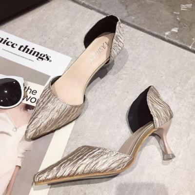 KEITH-WILL時尚鞋館 獨家款OL風尖頭細跟鞋 米白