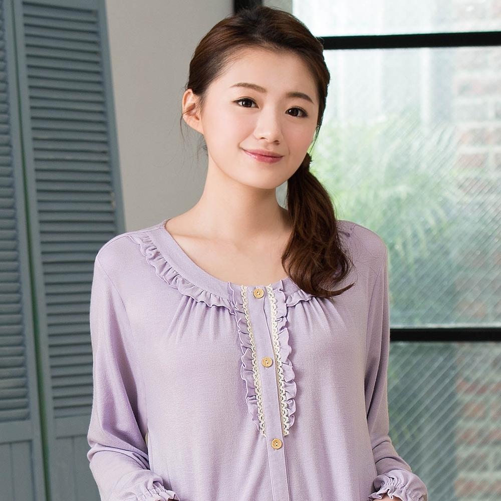華歌爾睡衣-EKS發熱 M-L 長袖褲裝(淡紫)睡眠研究