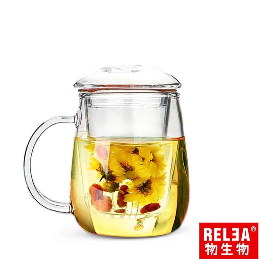 RELEA物生物 320ml小蘑菇耐熱玻璃泡茶杯(附濾茶器)