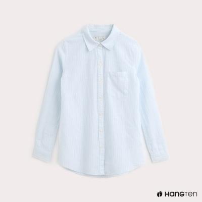 Hang Ten-女裝氣質棉麻襯衫-藍