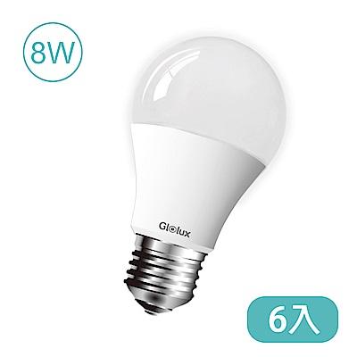 Glolux 北美品牌8W 大廣角LED燈泡950流明(白光) 6入